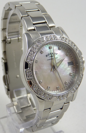 Rotary Ladies Silver Bracelet Pink Dial Watch