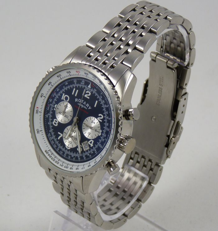 rotary gb03351 05 60 min chronograph blue face stainless steel rotary mens blue face chronospeed watch