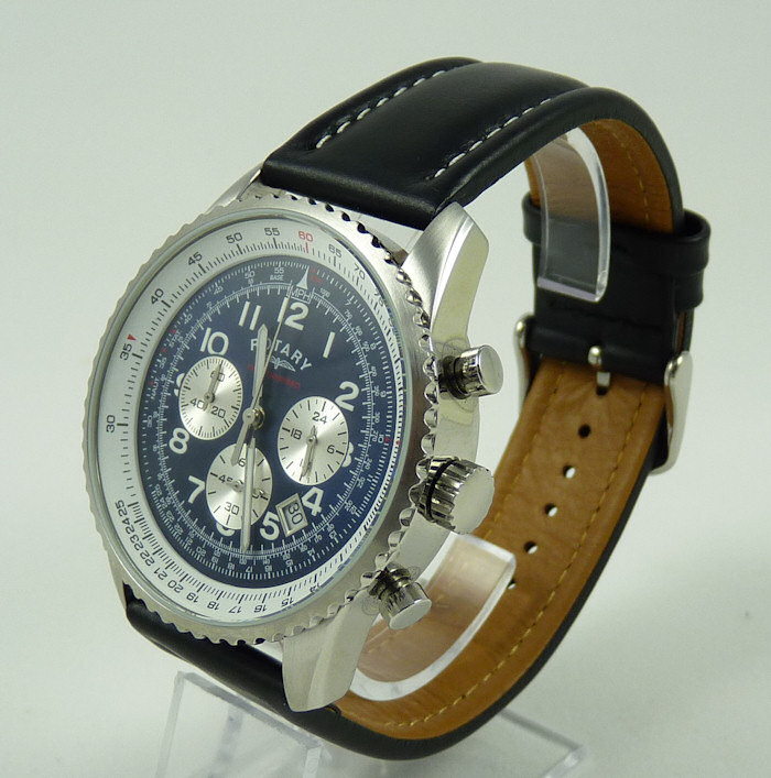 Rotary Chrono Leather Strap